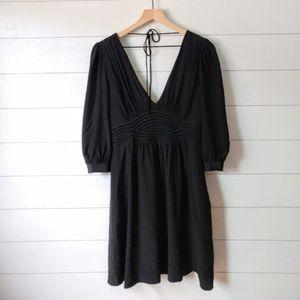 TIBI Deep V Black Corset Empire Silk Dress Size 8